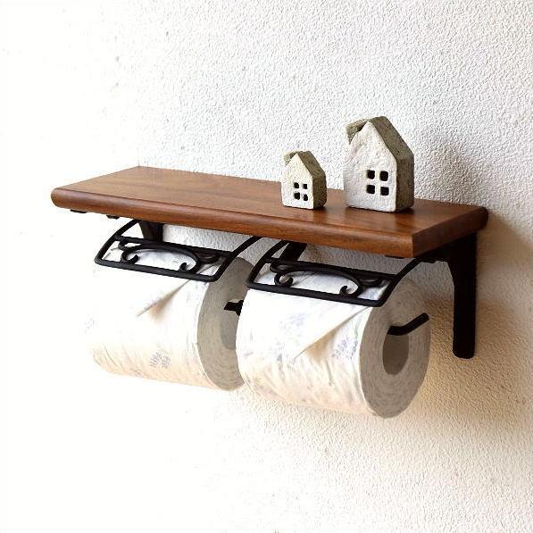 トイレットペーパーホルダー 2連 真鍮 天然木 木製 棚付き ダブル おしゃれ デザイン ブラスとウッドのWペーパーホルダー
