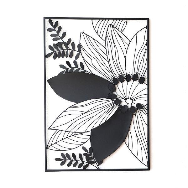 アイアン 壁飾り インテリア 壁掛け アートパネル 花 アートフレーム モノトーン おしゃれ モダン ウォールデコ アイアンの壁飾り シルエットフラワーB