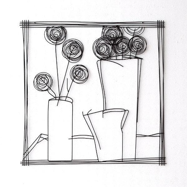 アイアン 壁飾り インテリア 壁掛け アートパネル アートフレーム モノトーン おしゃれ モダン ウォールデコ アイアンの壁飾り 花瓶B