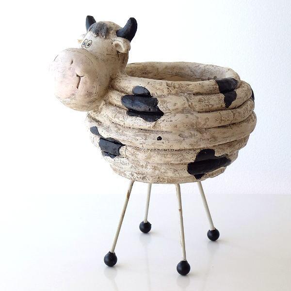 鉢カバー おしゃれ かわいい 牛 ウシ プランターカバー 雑貨 のんびり牛の鉢カバー