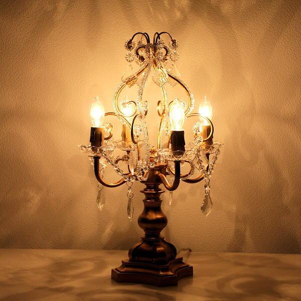 テーブルランプ シャンデリア スタンドライト アンティーク おしゃれ 卓上 4灯 テーブルライト クラシック エレガント シャンデリアテーブルランプAG