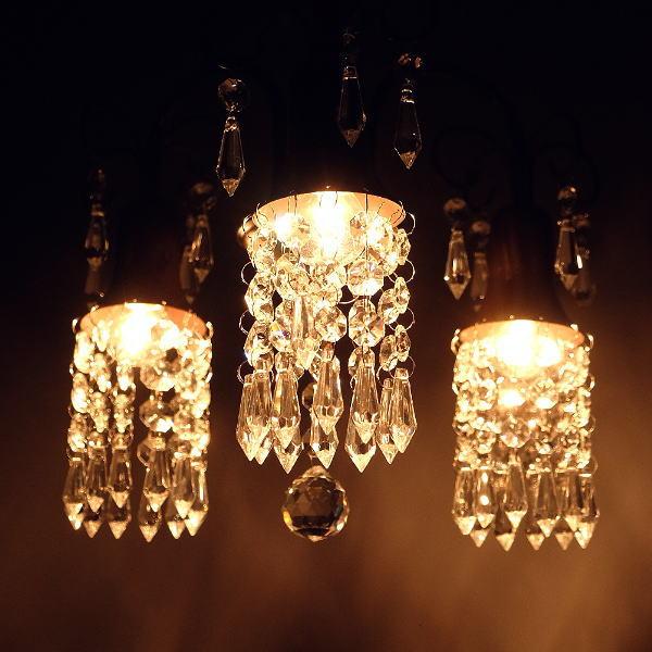 シャンデリア アンティーク 3灯 おしゃれ アイアン ガラス クリスタルシャンデリア3灯