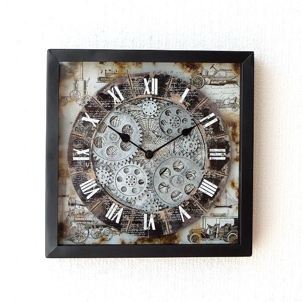 壁掛け時計 掛け時計 アンティーク モダン 機械式風デザイン クラシック レトロ ヨーロピアン ローマ数字 ウォールクロックギアー エンパイア