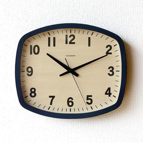 掛け時計 壁掛け時計 おしゃれ 木製 無垢材 静音 静か スイープムーブメント 連続秒針 モダン シンプル ナチュラル 北欧 西海岸 デザイン 見やすい 日本製 ネイビー ウォールクロック NAVY