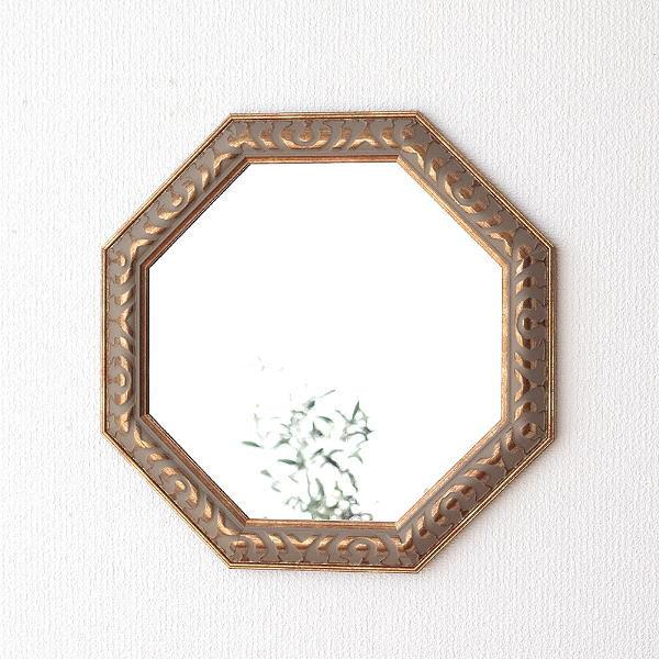 八角形 鏡 八角ミラー 八角鏡 玄関 リビング 壁掛けミラー ウォールミラー アンティークなミラー 八角