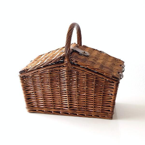 バスケット かご ふた付き おしゃれ 持ち手 ピクニック 柳 ウィロー 軽量 軽い 収納 蓋つき 手提げ ナチュラルピクニックバスケットB