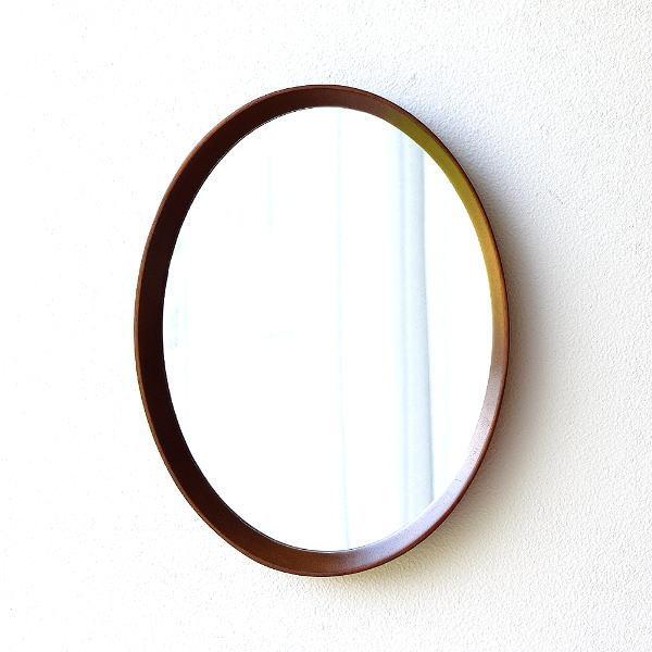 鏡 壁掛けミラー おしゃれ 楕円形 シンプル モダン 木製 無垢 ウォールミラー 玄関 洗面 トイレ 縦横対応 ウッド壁掛けオーバルミラー