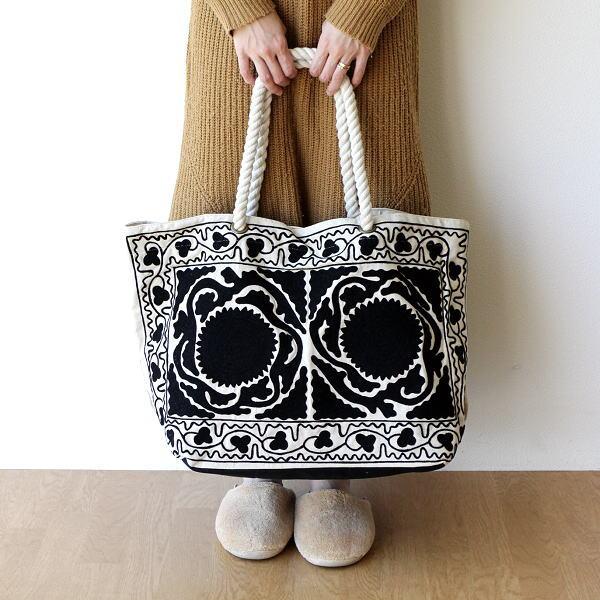 トートバッグ レディース 大きめ おしゃれ ショルダーバッグ 肩掛け かばん 大人 かわいい 大容量 刺繍 布 マザーズバッグ ロープハンドル刺繍バッグ WH