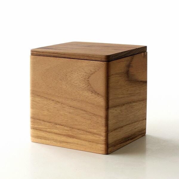 誕生日プレゼント チークウッドのキューブケース 小物入れ 木製 おしゃれ 小物収納 ミニボックス 四角 蓋付き シンプル 天然木 ナチュラル チーク インテリア 訳あり品送料無料 無垢材