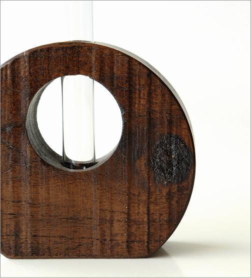 一輪挿し 木 ガラス 木製 チーク材 花器 無垢 天然木 試験管 花瓶 おしゃれ 和風 シンプル モダン インテリア チーク古材一輪挿し 2カラー