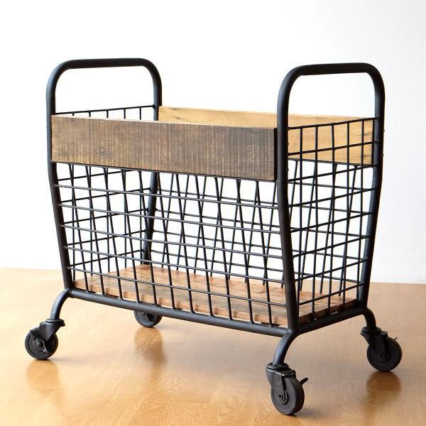 カート 収納ボックス キャスター付き リビング収納 アイアン 木製 メッシュ おしゃれ モダン アンティーク レトロ シャビーウッドとアイアンのカート