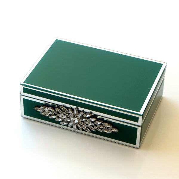 アクセサリーケース ガラス 小物入れ ふた付き 蓋つき ボックス おしゃれ アンティーク 収納ボックス 卓上 整理 ジュエリーボックス アクセサリーボックス ビジュー付きガラスBOX