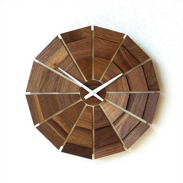 壁掛け時計 壁掛時計 掛け時計 掛時計 木製 おしゃれ 天然木 無垢 日本製 ウォールナット ウォールクロック 文字盤なし デザイン カフェ モダン ナチュラル ウッド壁掛け時計SUN L
