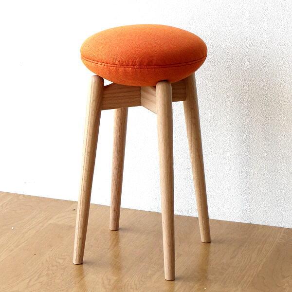 スツール 木製 おしゃれ 丸椅子 かわいい 北欧 ナチュラル クッション 天然木 無垢 コンパクト スリム ウッドスツール マカロンC
