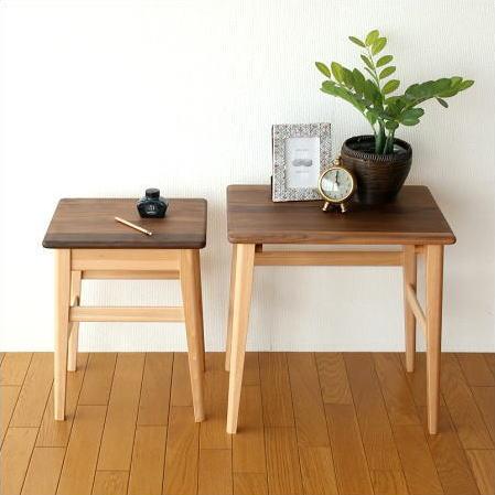ネストテーブル サイドテーブル 木製 ウォールナット ビーチ 天然木 無垢材 ソファーテーブル ソファーサイドテーブル コーヒーテーブル カフェテーブル ベッドサイドテーブル ソファテーブル おしゃれ シンプル 完成品 送料無料 ナチュラルウッドのネストテーブル