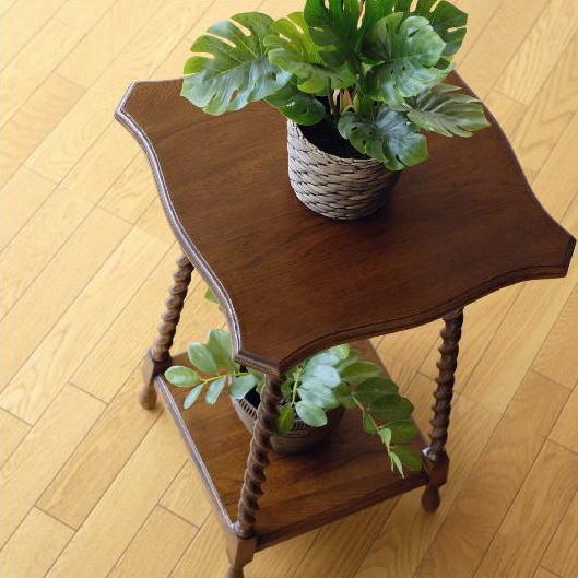 花台 木製 フラワースタンド 玄関 アンティーク 電話台 おしゃれ オーク花台ネジリ脚 スクエア