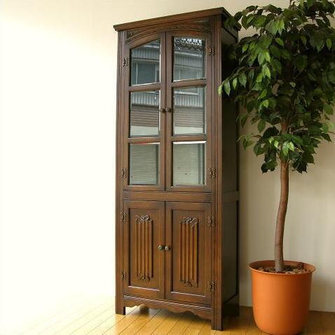 Hakusan Glass Cabinet Cupboard Natural Wood Wooden Oak Solid Wood