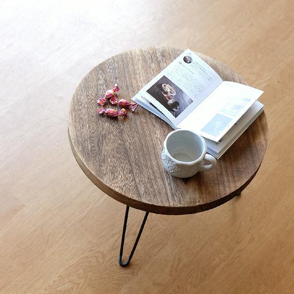 購買 ウッド折り畳みテーブル ラウンド ちゃぶ台 折りたたみ ハイクオリティ 丸テーブル ローテーブル 木製 アイアン ブラウン 円卓 座卓 天然木 円形 幅50cm コンパクト 丸型
