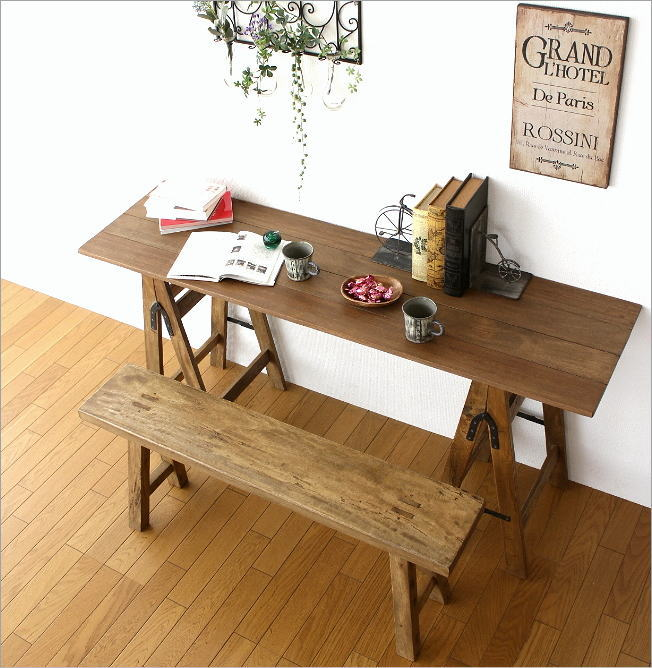 Folding Table Work Desk Computer Desk Wood Shabby Chic Retro Furniture  Antique Slim Long Display Table