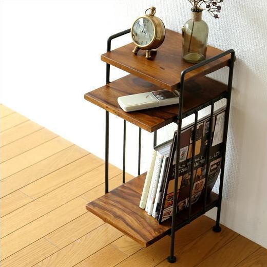 サイドテーブル おしゃれ 木製 ベッドサイドテーブル 収納 アイアンとシーシャムのサイドテーブル A
