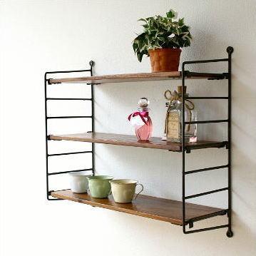 Hakusan Wall Shelf Wooden Iron Stylish Natural Wood Wall Shelf