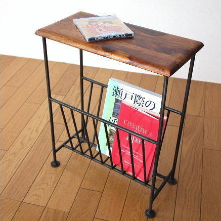 Table With Magazine Rack Fashionable Slim Magazine Stand Magazine インテリアアイアン  Natural Wood Storage Furniture Side
