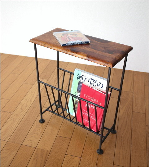 Genial ... Table With Magazine Rack Fashionable Slim Magazine Stand Magazine  インテリアアイアン Natural Wood Storage Furniture Side