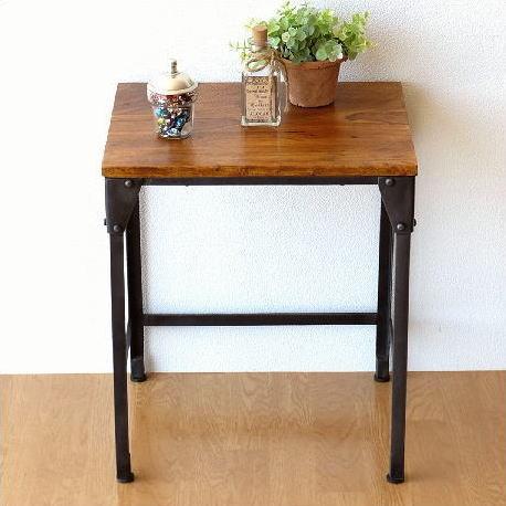 サイドテーブル 木製 アイアン シンプル モダン アンティーク 木目 無垢 天然木 鉄製 鉄脚 おしゃれ コンソールテーブル 花台 シーシャムとアイアンのネストテーブル S