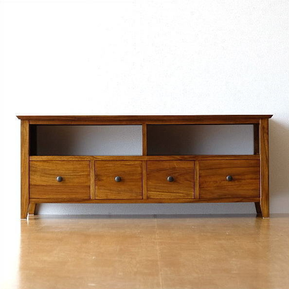 Teak Solid Wood Tv Made Of Rootstock Lowboard Living For テレビボードアジアン Furniture Modern Natural