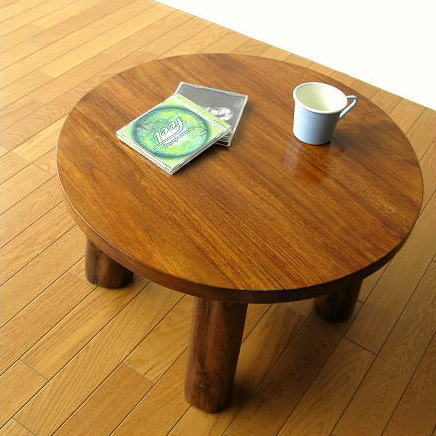 チーク無垢材 丸テーブル 木製 丸型 円形 ちゃぶ台 ローテーブル 座卓 リビングテーブル 天然木 サイドテーブル コーヒーテーブル コンパクトテーブル 座卓 低い ローテーブル ウッド シンプル 無垢材 アジアン家具 完成品 送料無料 チークラウンドテーブル60