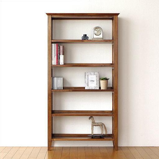 Teak Solid Wood Bookshelf Slim Natural Total Material Flat Wooden Simple Bookcase Cd