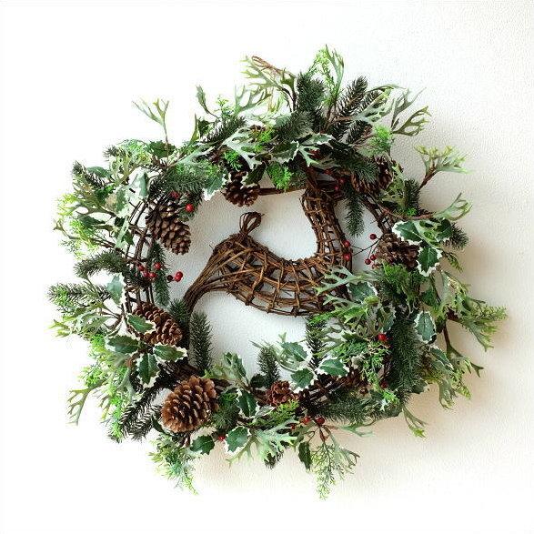 クリスマスリース 玄関 飾り 大きい ツリー飾り クリスマス雑貨 クリスマス飾り クリスマス リース Xmasリース 玄関飾り エントランス 80cm 80センチ 自然素材 フェイクグリーン 造花 緑 となかい レインディア x'mas bigなトナカイのGreenリース