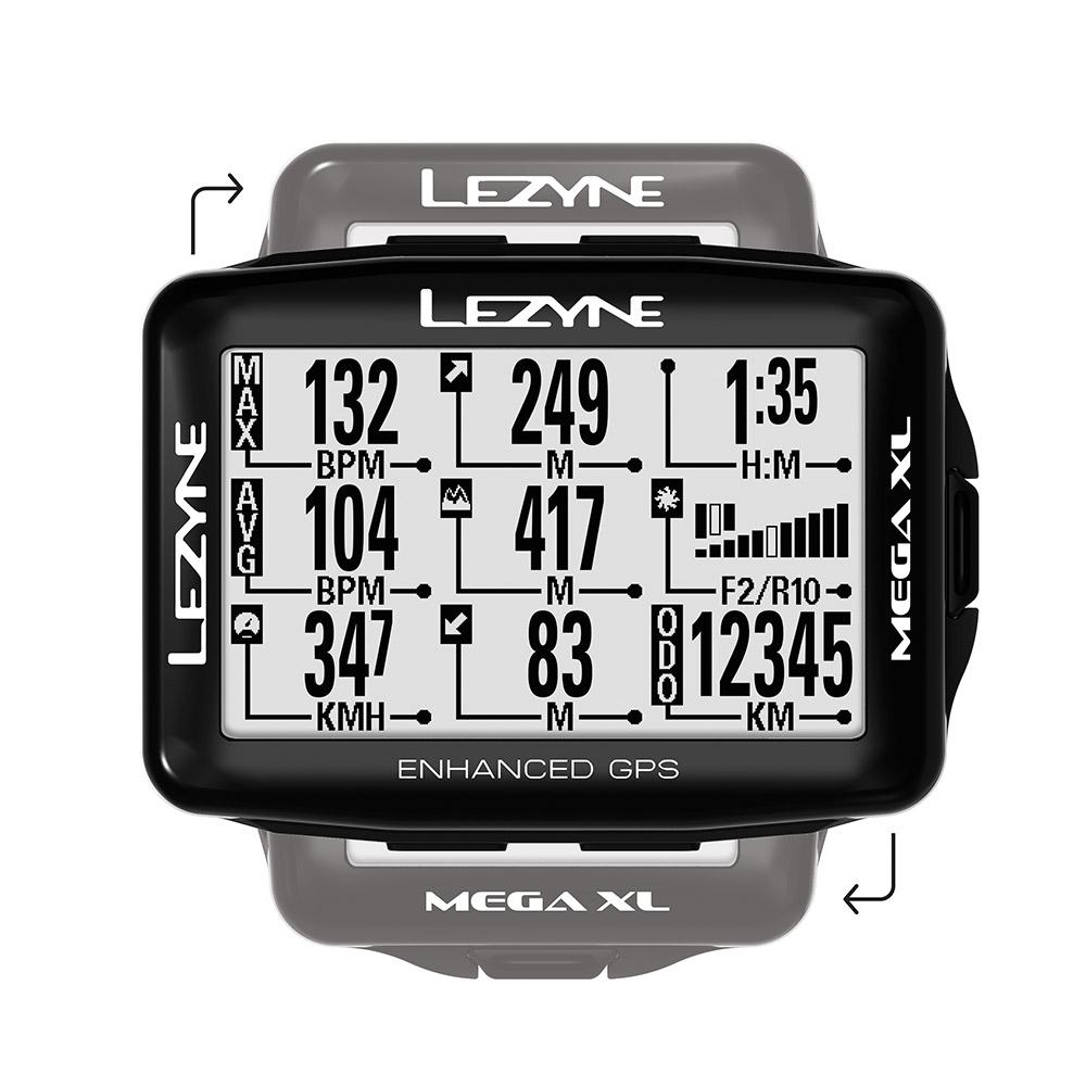 【最大1200円クーポン配布中(3/8 10時まで)】MEGA XL GPS(メガXL GPS)【大画面でコンパクト・最長48時間駆動GPS内蔵サイクルコンピューター】LEZYNE(レザイン)スピードメーター・サイクルコンピュータ