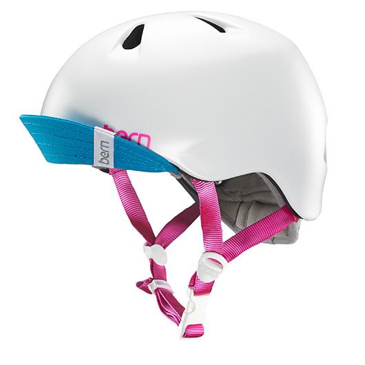 キッズ・女の子用ヘルメットNINA viser(ニノ バイザー付)カラー:SATAIN WHITEBERN(バーン)
