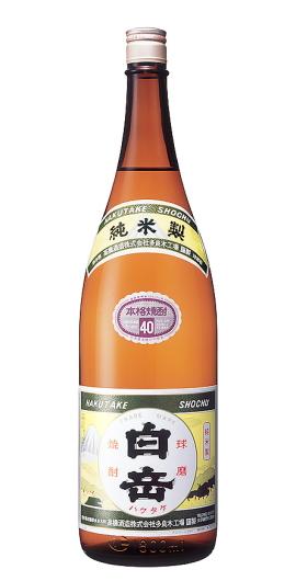球磨焼酎(米焼酎)白岳(ハクタケ)40度1800ml瓶
