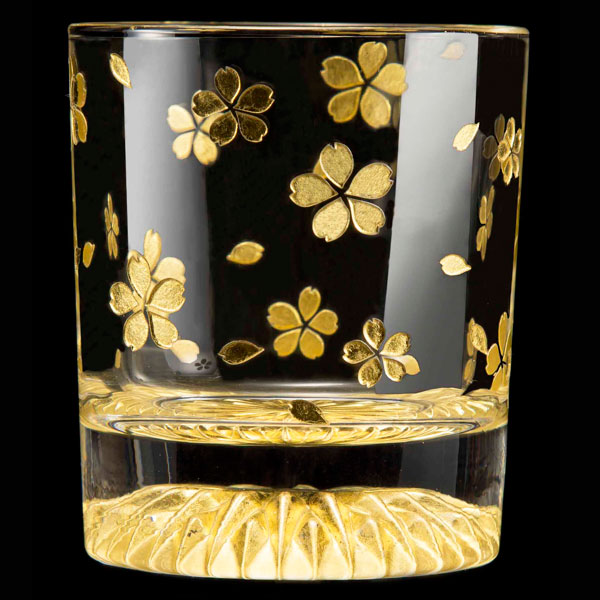 黄金のロックグラス 全周 桜 GOLD LEAF ROCK GLASS