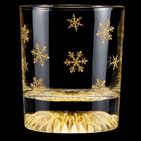 黄金のロックグラス 全周 雪の結晶 GOLD LEAF ROCK GLASS