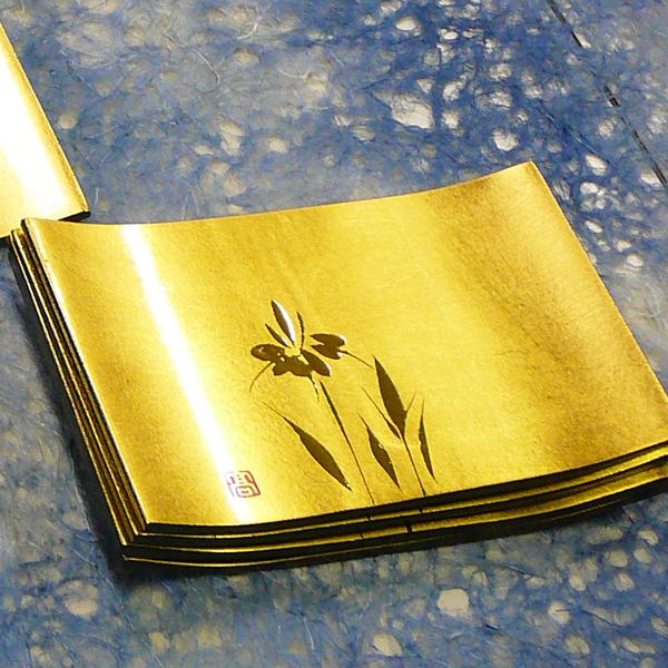 純金箔(木製)長角銘々皿(あやめ)5枚組