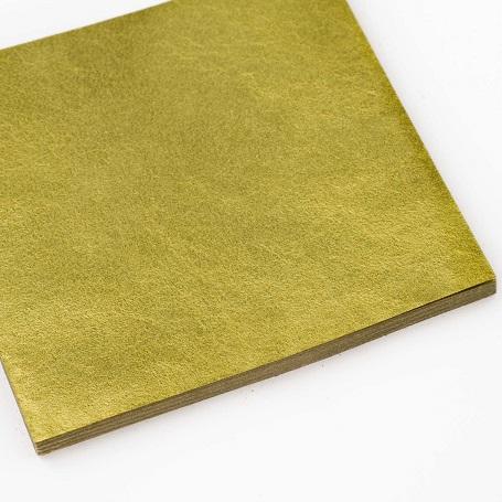 【色箔銀彩 ウグイス色3寸6分(100枚入)】新光箔 材料 DIY 工芸用 箔座 HAKUZA
