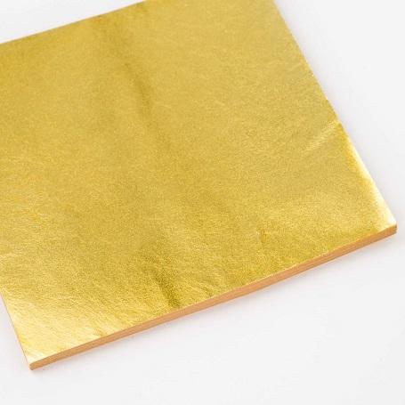 【色箔銀彩 純金色(じゅんきんしょく)3寸6分(100枚入)】新光箔 材料 DIY 工芸用 箔座 HAKUZA