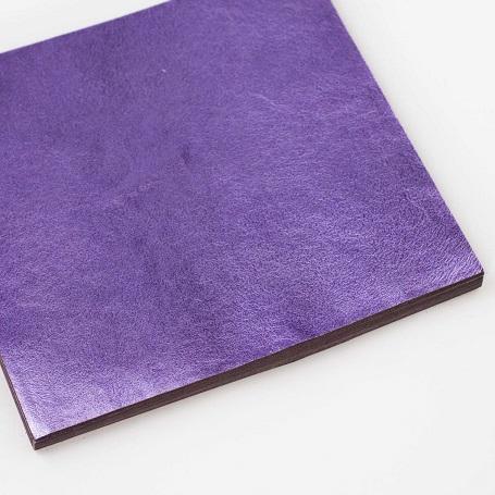 【色箔銀彩 紫色濃口(むらさきいろこいくち)3寸6分(100枚入)】新光箔 材料 DIY 工芸用 箔座 HAKUZA