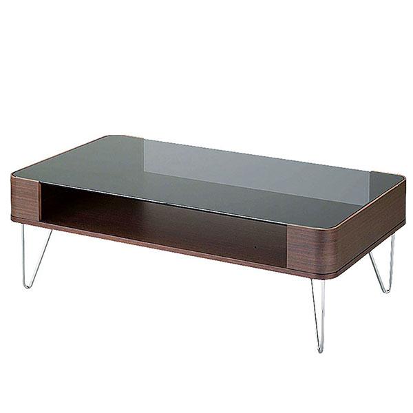 Lumas コーヒーテーブル 幅100cm天板グレーガラスコーナー部は曲げ木作り【送料無料】