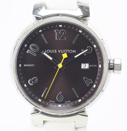 【中古】【美品】LOUIS VUITTON ルイヴィトン タンブール 純正替えベルト付き(未使用モノグラム) Q1111 文字盤:ブラウン クオーツ時計