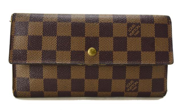 【中古】LOUIS VUITTON ルイヴィトン ポルトフォイユ インターナショナル 三つ折り長財布 ダミエ N61217