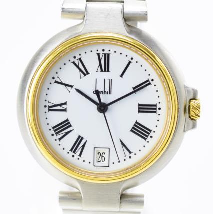 【中古】【美品】dunhill ダンヒル ミレニアム デイト シルバー ゴールド レディース 稼働品 文字盤:ホワイト クオーツ時計
