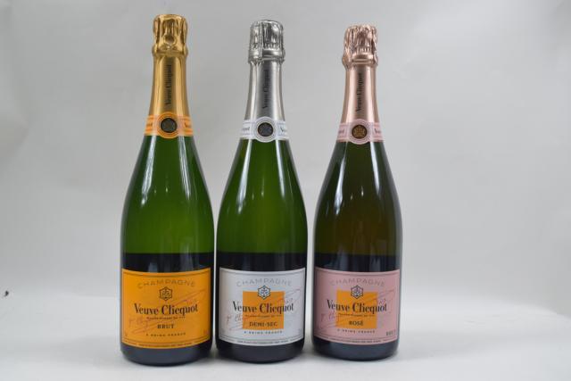 【未開栓】ヴーヴクリコ VEUVE CLICQUOT ブリュット/ロゼ/デミセック 750ml シャンパン 3本セット 送料無料 【中古】