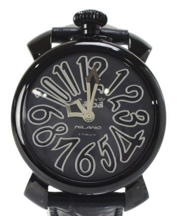 【中古】G(その他) ガガミラノ GaGa MILANO マヌアーレ 40 5022 ブラック 黒 クオーツ時計