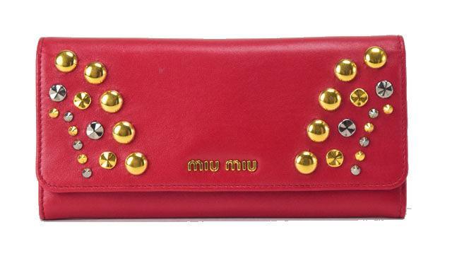 【中古】【美品】miumiu ミュウミュウ 長財布 レッドスタッズ レザー レッド