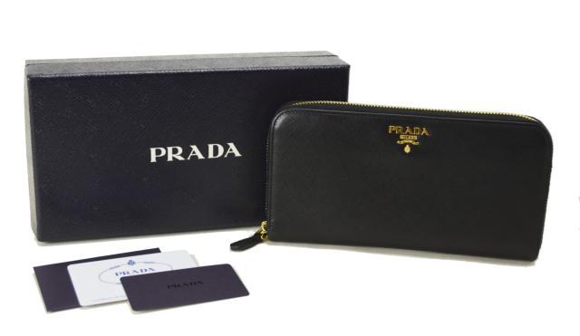 【中古】【美品】PRADA プラダ サフィアーノ レザー ラウンドファスナー 長財布 ネロ 1ML506 NERO