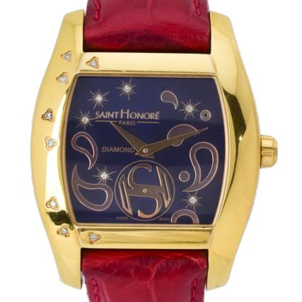 【中古】【美品】SAINT HONORE サントノーレ モンソー 14Pダイヤ レディース時計 7230868PDFR クオーツ時計